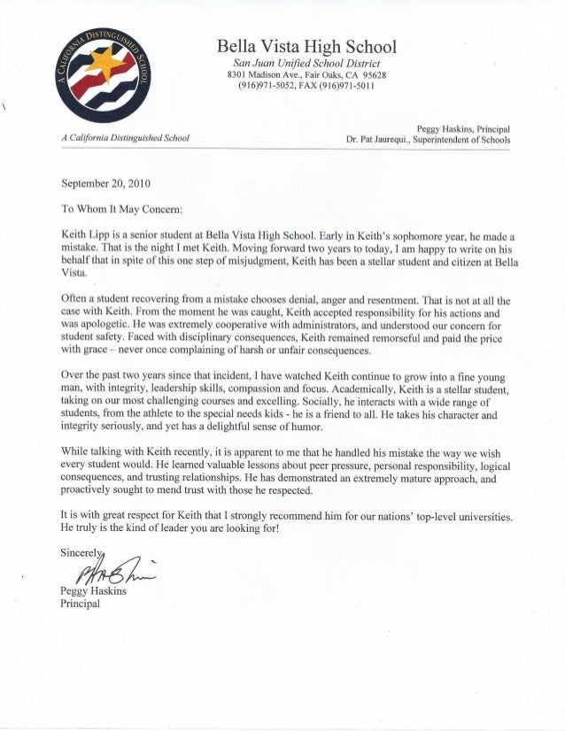 High School Principal Letter of Re mendation
