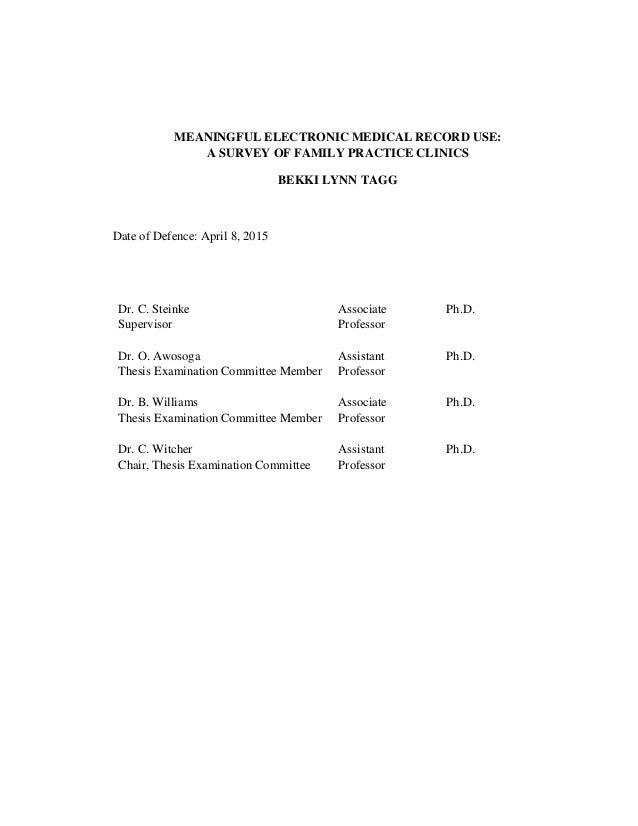 Meaningful EMR Use - A Survey of Family Practice Clinics - TAGG_BEKKI_MSC_2015 Slide 2