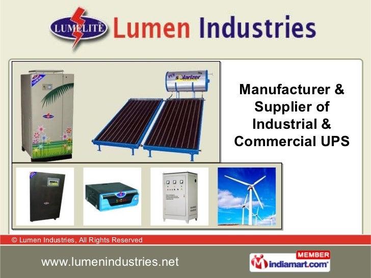 Manufacturer & Supplier of Industrial & Commercial UPS