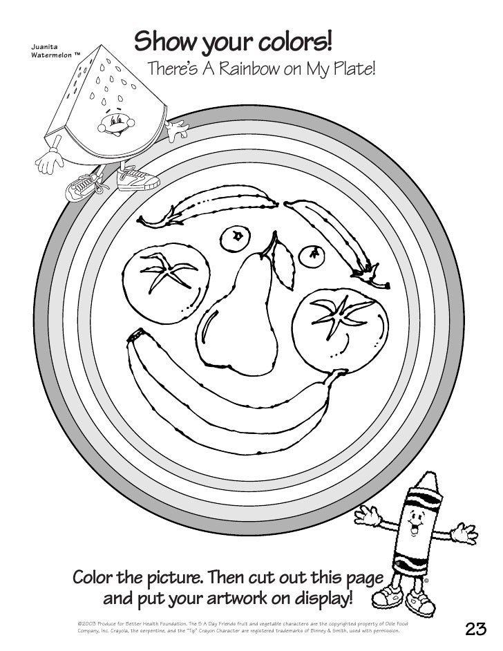 Fruits And Vegetables Coloring Book