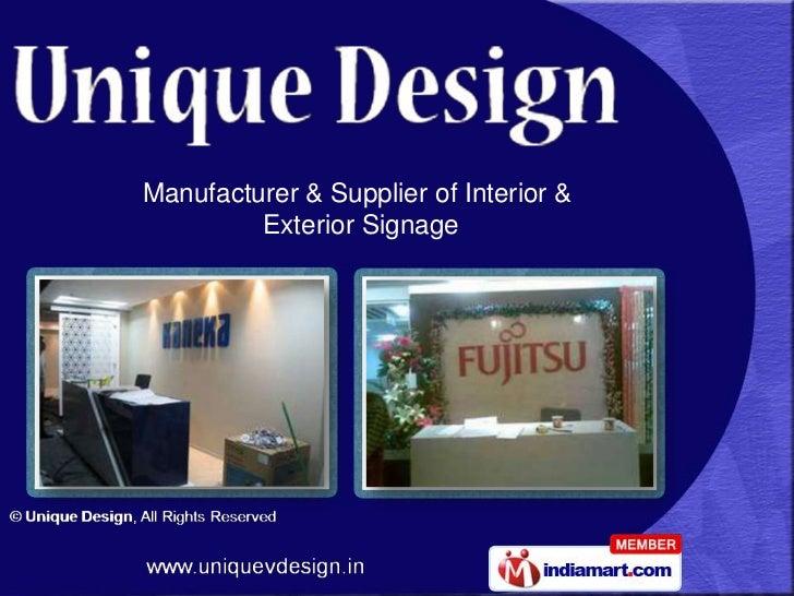 Manufacturer & Supplier of Interior &         Exterior Signage
