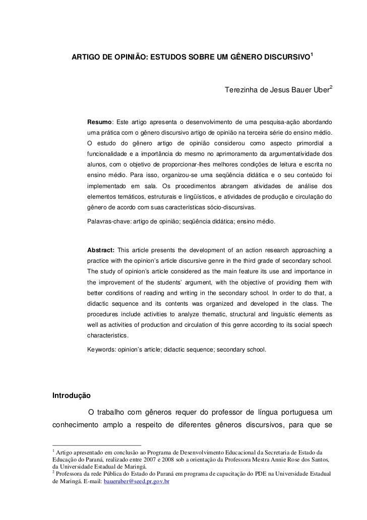 ARTIGO DE OPINIÃO: ESTUDOS SOBRE UM GÊNERO DISCURSIVO1                                                                  Te...