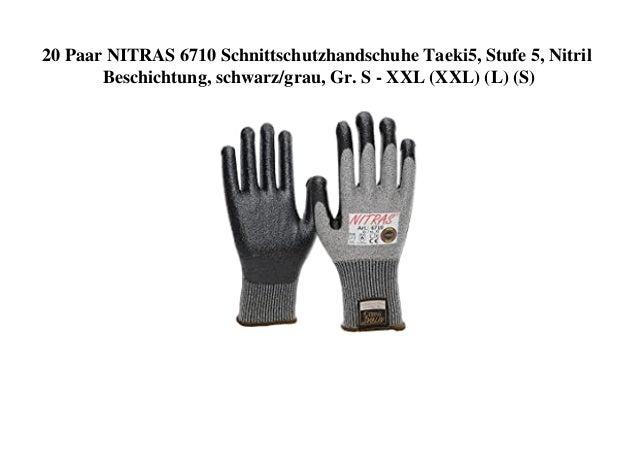 20 Paar NITRAS 6710 Schnittschutzhandschuhe Taeki5, Stufe 5, Nitril Beschichtung, schwarz/grau, Gr. S - XXL (XXL) (L) (S)