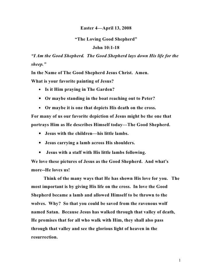 """Easter 4—April 13, 2008                          """"The Loving Good Shepherd""""                                  John 10:1-18 ..."""