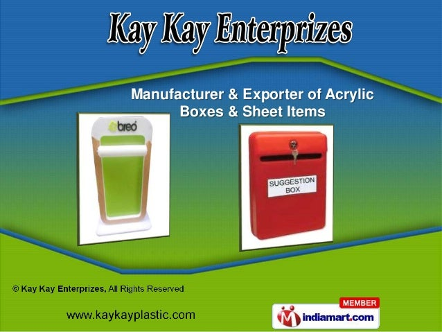 Manufacturer & Exporter of Acrylic      Boxes & Sheet Items