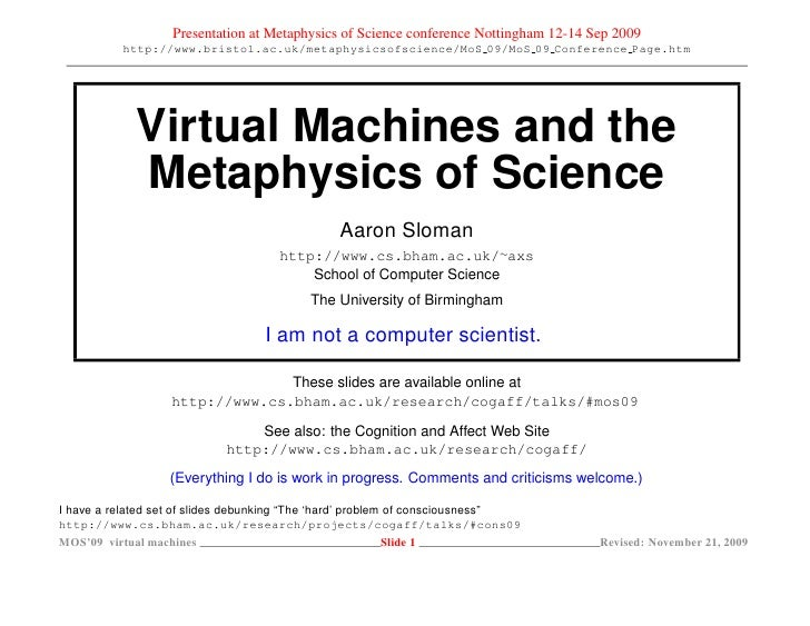 Presentation at Metaphysics of Science conference Nottingham 12-14 Sep 2009           http://www.bristol.ac.uk/metaphysics...