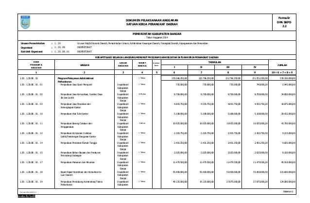 Tahun Anggaran 2014 Formulir DPA SKPD 2.2 DOKUMEN PELAKSANAAN ANGGARAN SATUAN KERJA PERANGKAT DAERAH PEMERINTAH KABUPATEN ...
