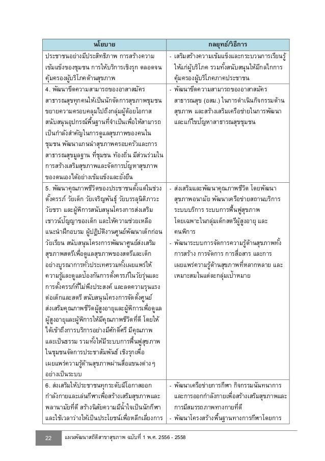 สถิติสาขาสุขภาพทางการของประเทศไทย 2557 -  2558