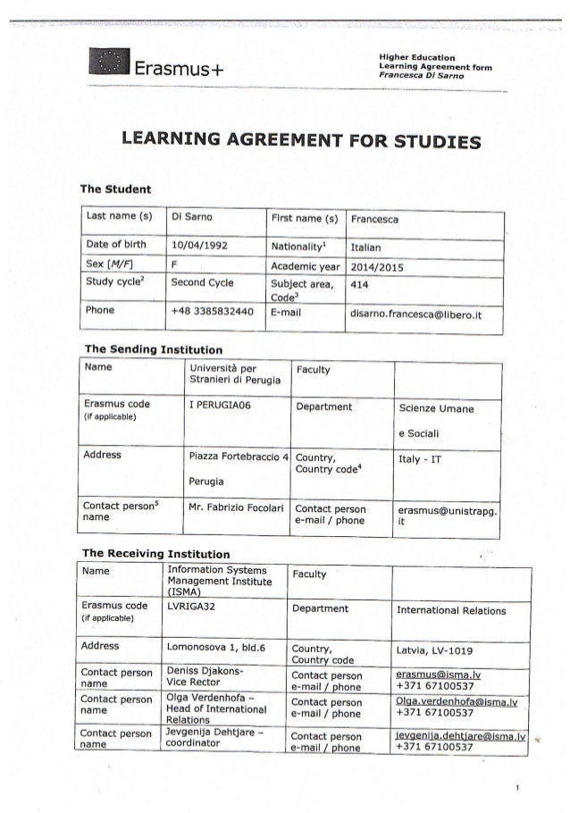 Learning Agreement Final