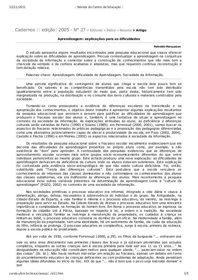 22/11/2011                                 :: Revista do Centro de Educação ::... Cadernos :: edição: 2005 - N° 27 > Edito...