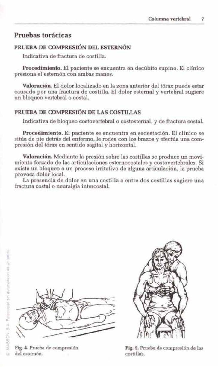 Columna vertebral      7      Pruebas torácicas      PRUEBA DE COMPRESIÓN DEL ESTERNÓN         Indicativa de fractura de c...
