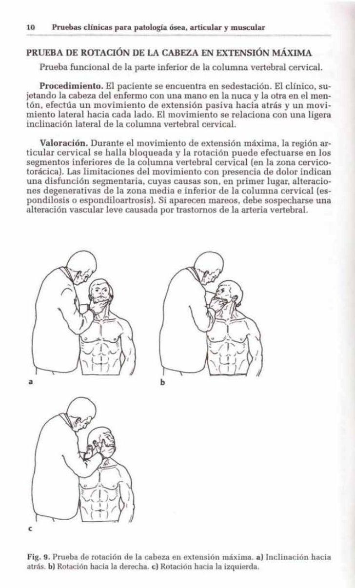 10      Pruebas clínicas para patología ósea, articular y muscularPRUEBA DE ROTAOÓN DE LA CABEZA EN EXTENSIÓN MÁXIMA     P...