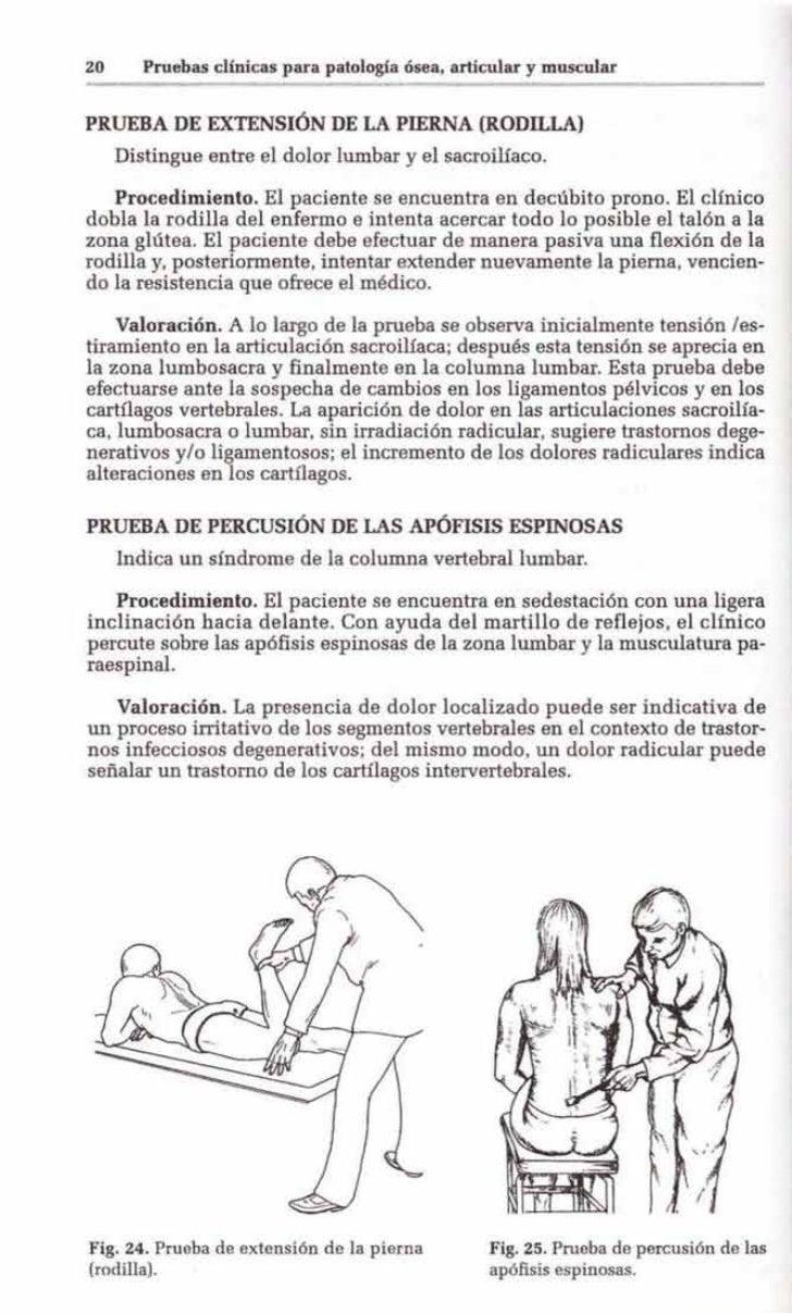 20      Pruebas clínicas para patología ósea, articular y muscularPRUEBA DE EXTENSIÓN DE LA PlERNA (RODILLA)     Distingue...