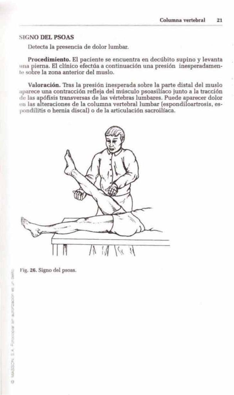 Columna vertebral    21SIG O DEL PSOAS    Detecta la presencia de dolor lumbar.     Procedimiento. El paciente se encuentr...