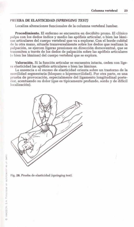 Columna vertebral    23    lRUEBA DE ELASTICIDAD (SPRlNGLNG TEST]       Localiza alteraciones funcionales de la columna ve...