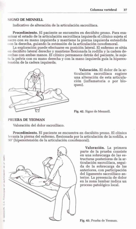 Columna vertebral      37SIGNO DE MENNELL   Indicativo de alteración de la articulación sacroilíaca.    Procedimiento. El ...