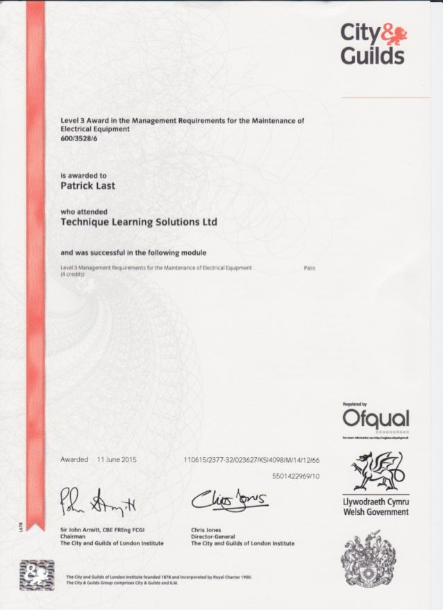 City & Guilds 2377-32 – Management Requirements for the Maintenance of Electrical Equipment