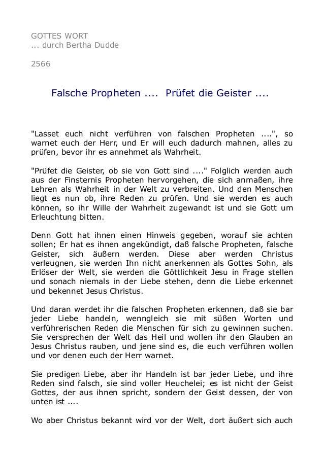 """GOTTES WORT ... durch Bertha Dudde 2566 Falsche Propheten .... Prüfet die Geister .... """"Lasset euch nicht verführen von fa..."""