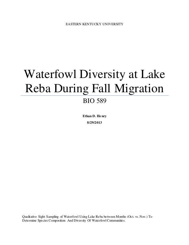 EASTERN KENTUCKY UNIVERSITY Waterfowl Diversity at Lake Reba During Fall Migration BIO 589 Ethan D. Henry 8/29/2013 Qualit...