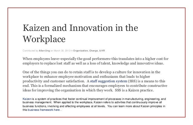 Kaizen and Innovation in the Workplace