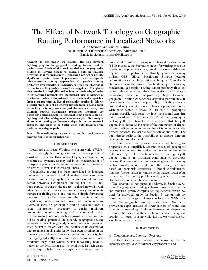 ACEEE Int. J. on Network Security, Vol. 01, No. 03, Dec 2010    The Effect of Network Topology on Geographic     Routing P...