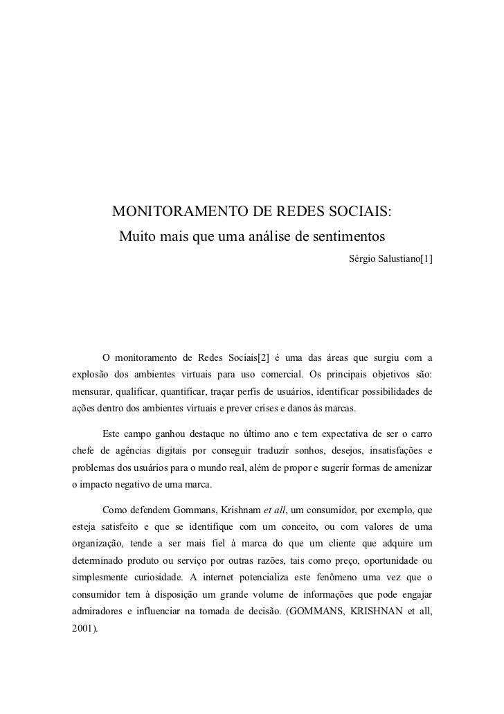 MONITORAMENTO DE REDES SOCIAIS:             Muito mais que uma análise de sentimentos                                     ...