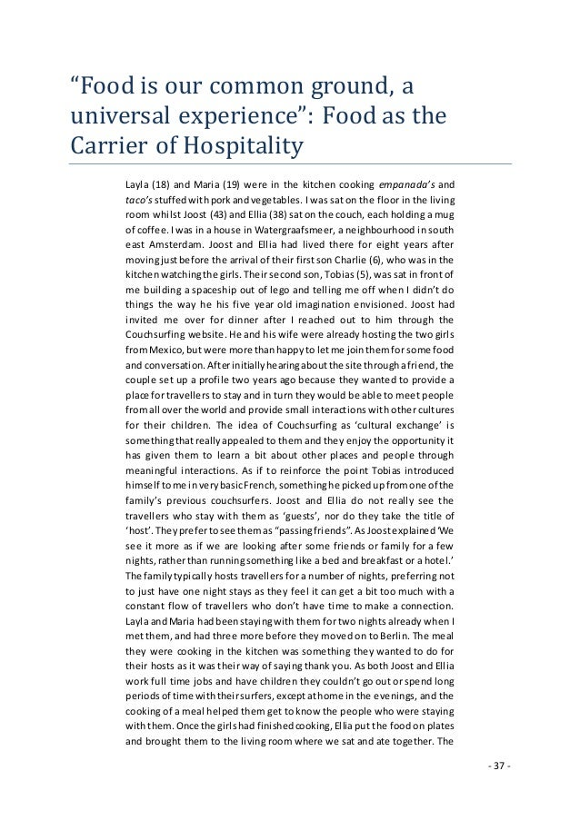 """- 37 - """"Food is our common ground, a universal experience"""": Food as the Carrier of Hospitality Layla (18) and Maria (19) w..."""