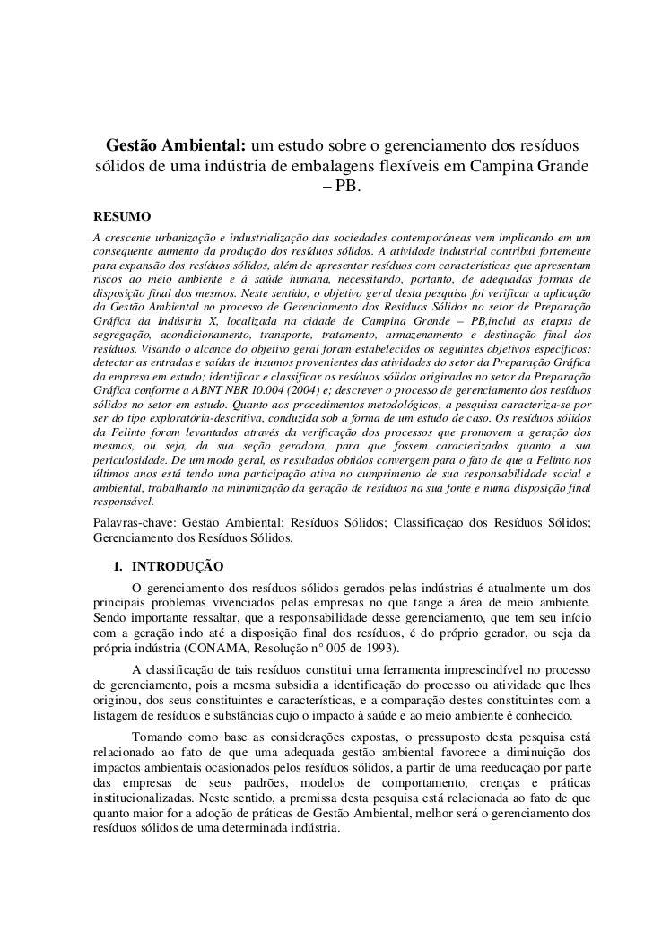 1 Gestão Ambiental: um estudo sobre o gerenciamento dos resíduossólidos de uma indústria de embalagens flexíveis em Campin...