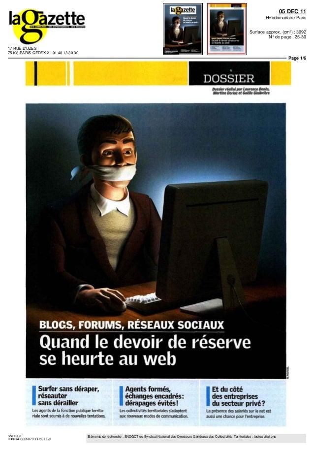 17 RUE D'UZES 75108 PARIS CEDEX 2 - 01 40 13 30 30 05 DEC 11 Hebdomadaire Paris Surface approx. (cm²) : 3092 N° de page : ...