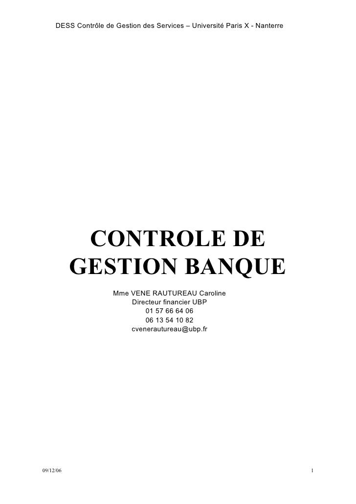 DESS Contrôle de Gestion des Services – Université Paris X - Nanterre            CONTROLE DE           GESTION BANQUE     ...