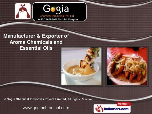 Manufacturer & Exporter of  Aroma Chemicals and     Essential Oils