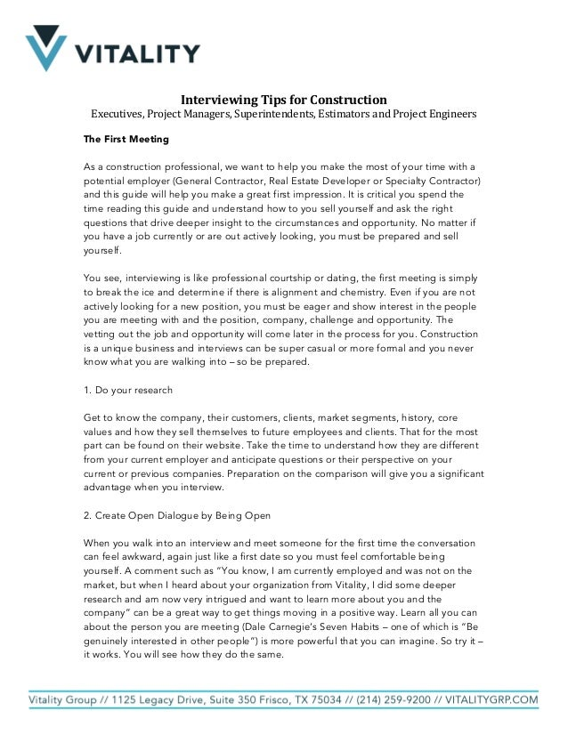 2017 Interview Preparation & Guide Confidential Vitality
