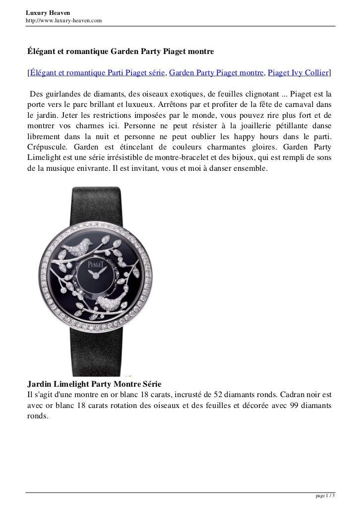 Luxury Heavenhttp://www.luxury-heaven.comÉlégant et romantique Garden Party Piaget montre[Élégant et romantique Parti Piag...