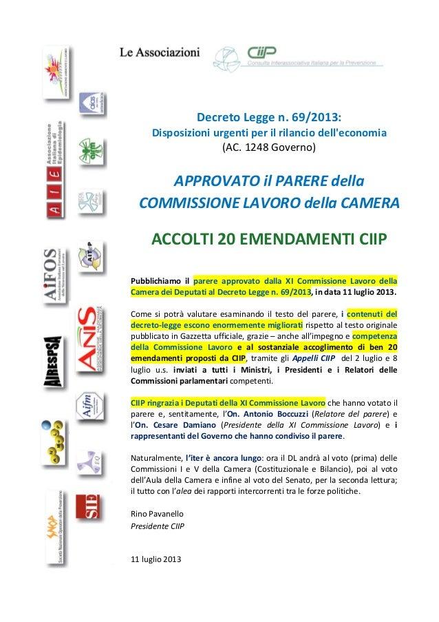 DecretoLeggen.69/2013: Disposizioniurgentiperilrilanciodell'economia (AC.1248Governo)  APPROVATOil...