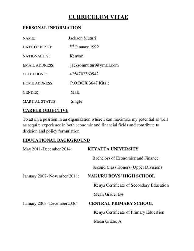 curriculum vitae personal information name jackson muturi date of birth 3rd january 1992 nationality
