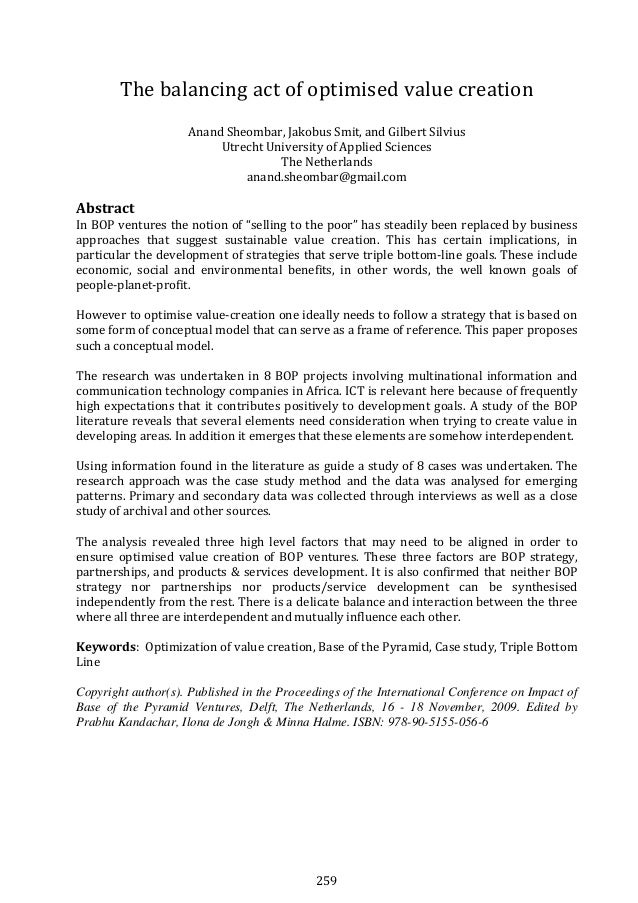 259 Thebalancingactofoptimisedvaluecreation  AnandSheombar,JakobusSmit,andGilbertSilvius UtrechtUniversit...