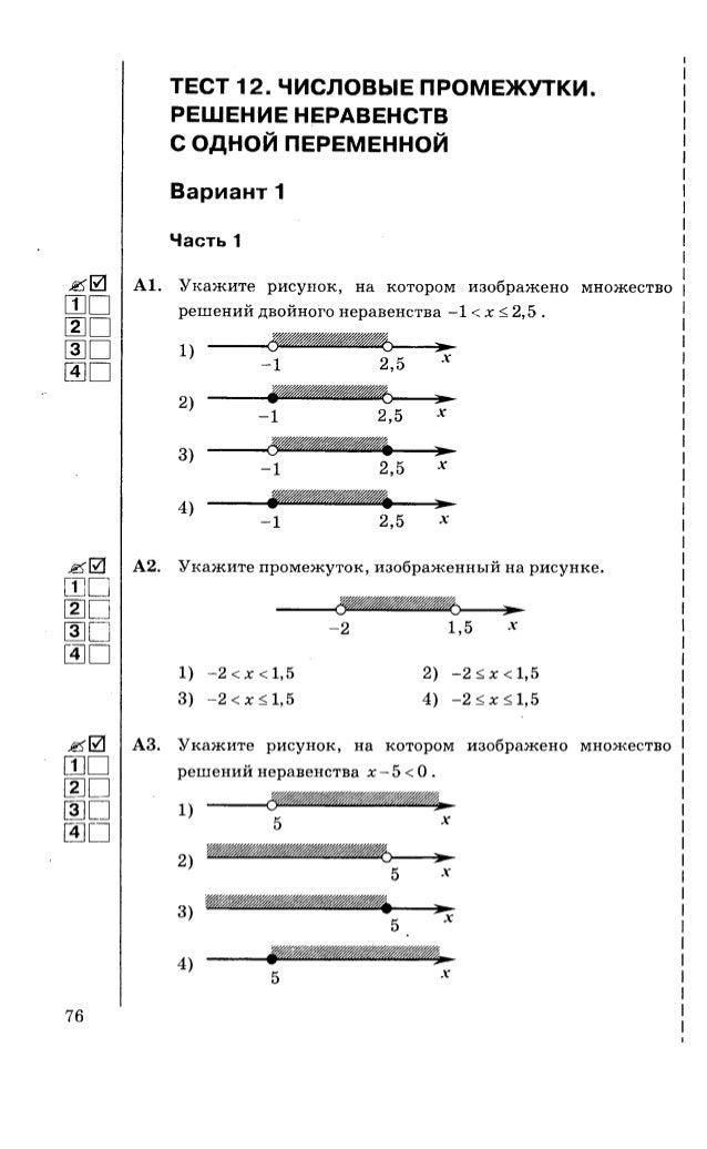 Тесты неравенства 9 класс