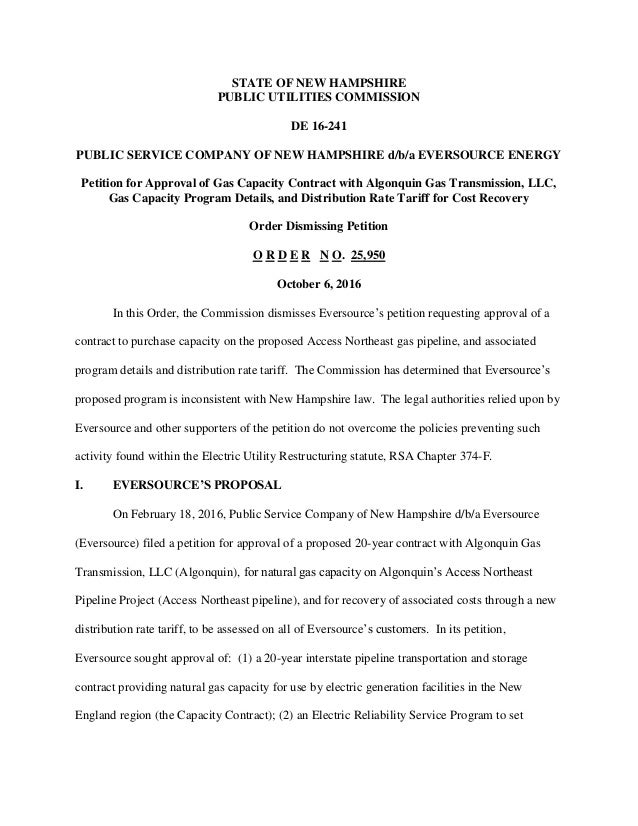 Decision By Nh Puc To Deny Request By Eversource Energy To Strike A L