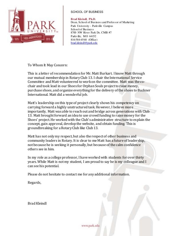Reference Letter from Brad Kleindl