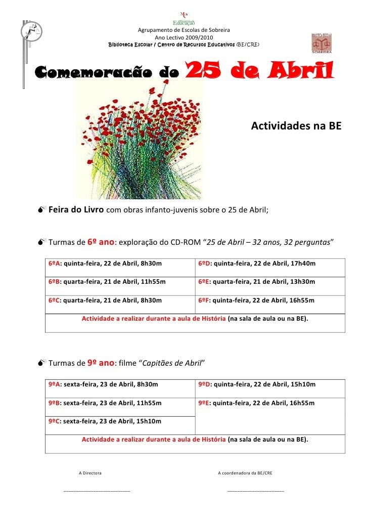 Agrupamento de Escolas de Sobreira                                             Ano Lectivo 2009/2010                      ...