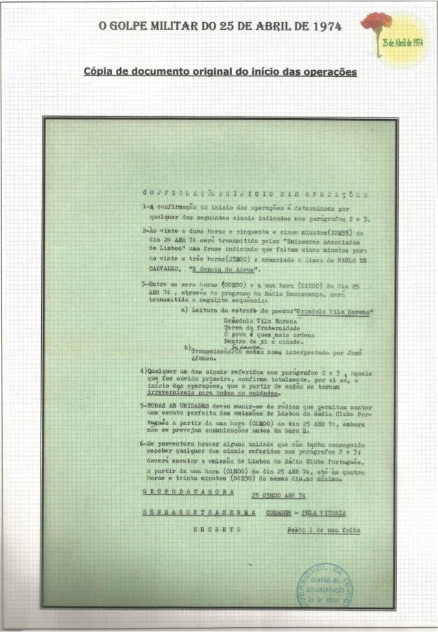 O GOLPE MILITAR DO 25 DE ABRIL.  DE 1 974 lãdeàbrildel974  f  Cópia de documento original do início das ogerggães     OOVA...