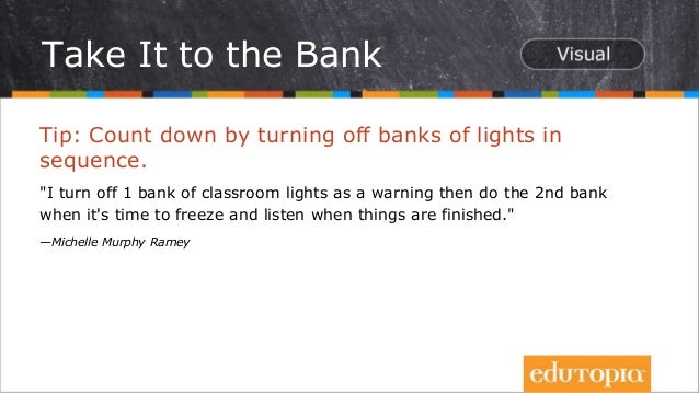 """Tip: Count down by turning off banks of lights in sequence. """"I turn off 1 bank of classroom lights as a warning then do th..."""