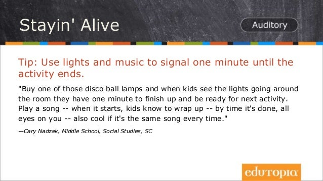 """Tip: Use lights and music to signal one minute until the activity ends. """"Buy one of those disco ball lamps and when kids s..."""