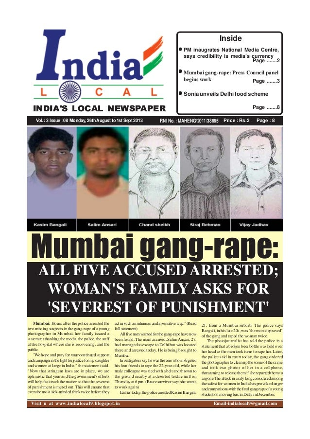 Price : Rs.2 Page : 8RNI No. : MAHENG/2011/38665 INDIA'S LOCAL NEWSPAPER Vol.:3 Issue:08 Monday, 26thAugust to 1st Sept 20...