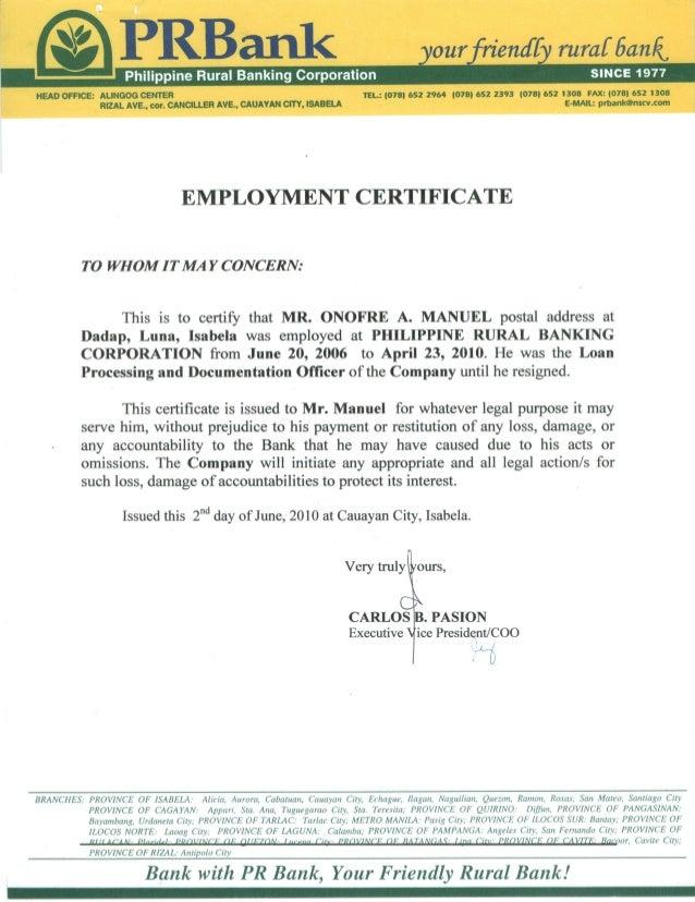 Employment Certificate (PR Bank)