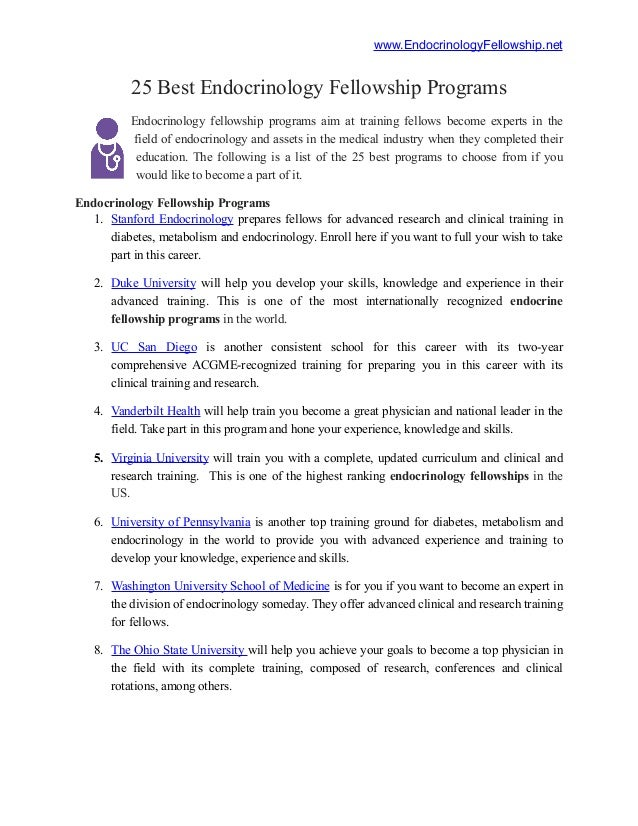 25 Best Endocrinology Fellowship Programs