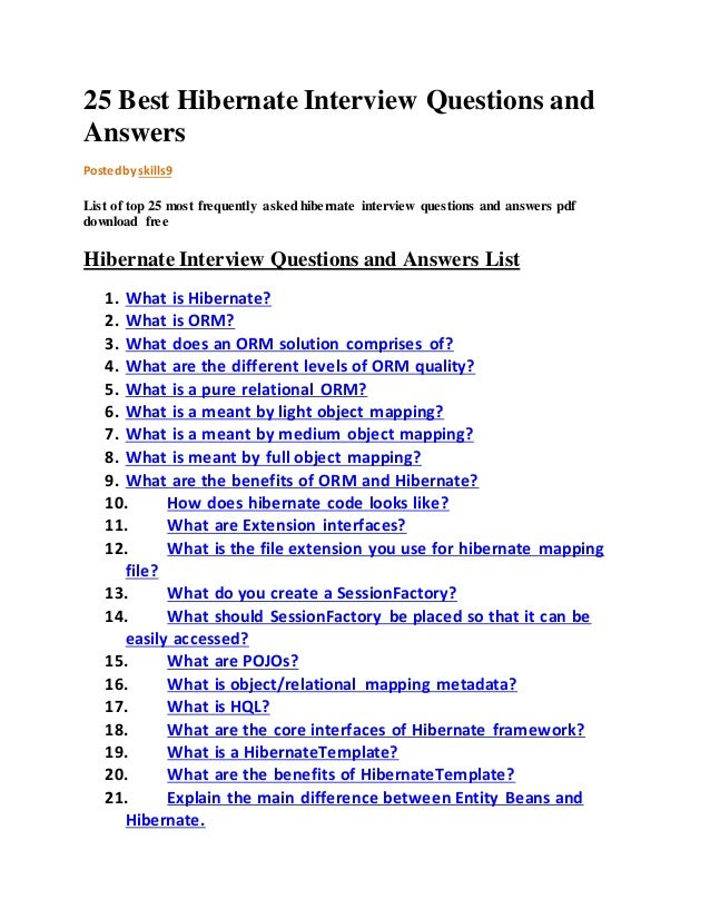 25 Best Hibernate Interview Questions And Answers