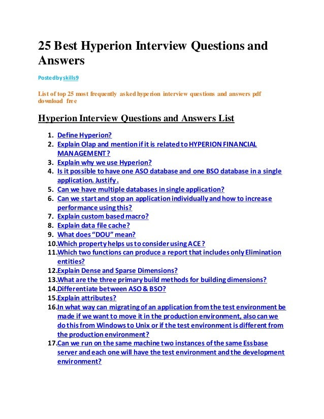 25 best hyperion interview questions and answers