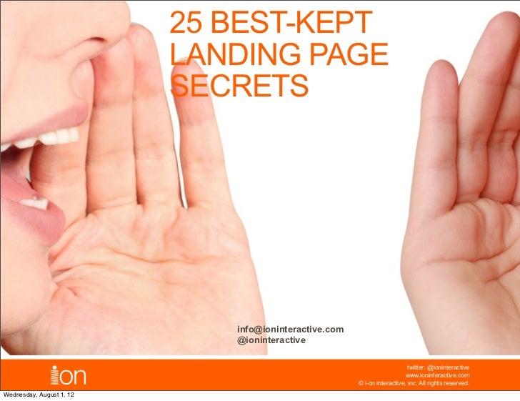 25 BEST-KEPT                          LANDING PAGE                          SECRETS                             info@ionin...