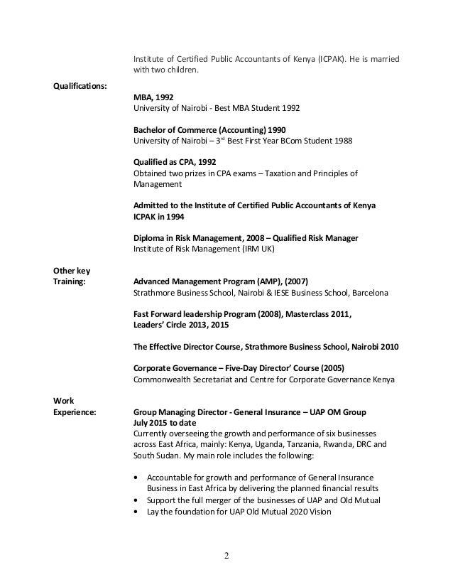 JAMES WAMBUGU - CV updated Jan 2015